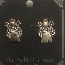"Rabbit's Tale Antique Sterling Silver Angel Stud Earrings Size 1"" Brand New"