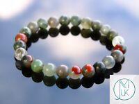 African Bloodstone Natural Gemstone Bracelet 6-9'' Elasticated Healing Stone