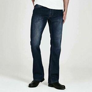 Firetrap Men Tokyo Jeans Trousers Bottom Denim Bootcut Fit Dark 36W S  A122-2