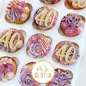 Customised cupcake toppers glitter cake topper 16 18 21 30 40 50 60 70 any word