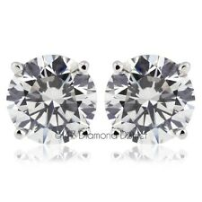 1.20ct D-VS1 Ex Round Natural Diamonds 14K Gold 4-Prong Set Basket Earrings 1.1g