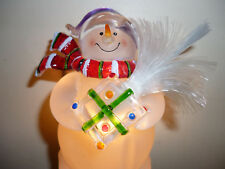 Snowman with Fiber Optic Tree Night Light  FREE Ship  Rotating Plug  NEW in Box