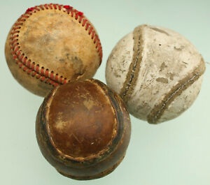 ANTIQUE STITCHED LEATHER BASEBALLS BABE RUTH FIGURE EIGHT (?) MLB