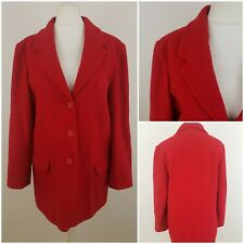 Classic Woman Red Long Sleeved Single Breasted Soft Coat Jacket with Wool 14