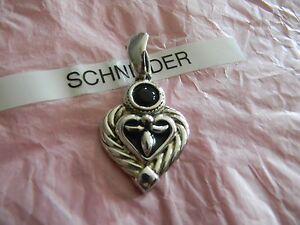 Premier Designs TIMES SQUARE silver heart pendant slide gorgeous RV $29
