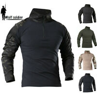 Army Mens Military Tactical Combat Shirt Long Sleeve Casual T-Shirt Camouflage