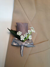 New Artificial Gray Rose Bud Boutonniere, Gray Bout, Gray Lapel Flower