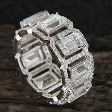 Gold Over Full Eternity Wedding Band Ring 5.00 Ct Emerald Cut Diamond 14k White