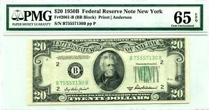 $20 1950 B FEDERAL RESERVE NOTE NEW YORK F 2061 B LUCKY MONEY VALUE $350