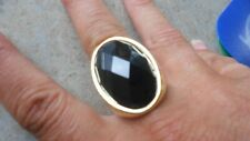 LARCH GOLD & FACETED EBONY BLACK CRYSTAL RING, DYNAMITE COCKTAILS ,SIZE Q1/2