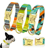 Personalised Pet Dog ID Collars with Metal Buckle Engraved Small Medium Large