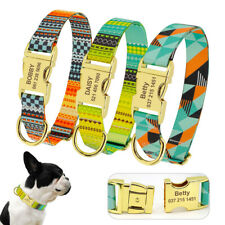 Personalized Engraved Dog Collar Customized ID Tag Adjustable Gold Buckle S/M/L