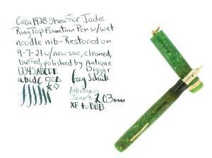 C1928 SHEAFFER WHITE DOT JADE FOUNTAIN PEN WET NOODLE XF-BBB FLEX NIB NO RESERVE