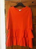 H&M Orange Jersey/Cotton Frill Hem Top Size S(10/12)