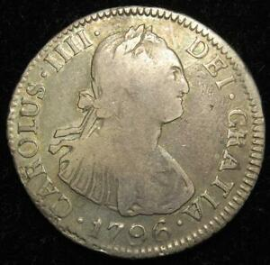 Spanish Colonial, Bolivia Charles IV silver 2 reales 1796 PP Potosi mint