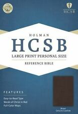 HCSB Large Print Personal Size Bible, Brown Genuine Cowhide (2014, Leather)