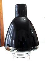 Black Amethyst Hand-blown Vase Encased Clear Glass White Trim and Pontil