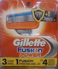 Gillette Fusion Razor power Blade Refills 4 Razors (3 fusion,1 proshield)