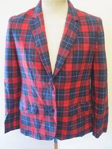 Genuine Pendleton Tartan/Check Patterned Wool Jacket UK 12 Euro 40- Red