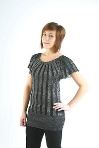 Womens Glitter Blouse Sparkly Stretch Batwing Top Ladies Draped Back T Shirt