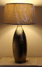Large Dimple Base Table Lamp & Shade Antique Look Modern Carved industrial Woven