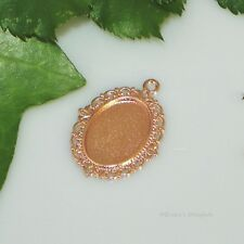 18x13 Oval Rose Gold Plated Cabochon (Cab) Drop Setting (#D2-60)