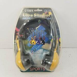 NEW SEALED Coby CX-22 AM/FM Radio Yellow Sports Headphones Headset