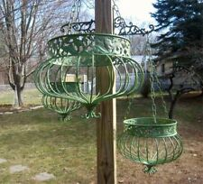 New ListingSet of 3 Victorian Hanging Planters Wrought Iron Green Finish