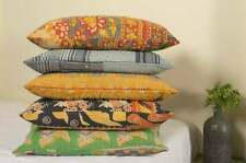 5 Pcs Indian Kantha Cushion Pillow Kantha Pillow Covers Throw Decor 16*24 in