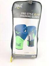 Everlast Pro Style Elite Training Boxing Gloves Blue Green 16 oz Sparr Heavy Bag