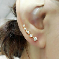 Natural Diamond Women Earrings Jacket Ear Crawler Solid 14K Yellow Gold Jewelry