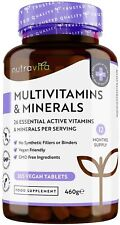 Multivitamines et Minéraux - 365Comprimés Végan 26 Nutriments dont Zinc, Calcium