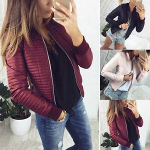 Women Winter Warm Quilted Outwear Short Crop Baseball Jacket Coat Parka Overcoat
