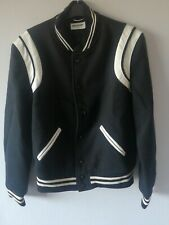 Saint Laurent Unworn Teddy Jacket Black Wool With White Leather In A Size 50