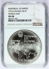 1973 Canada Montreal Olympics World Map Silver $10 Coin - NGC MS 68 - KM# 86.1