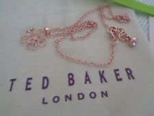 BN Ted Baker Rose Gold Flower Pendant Necklace with Gift Pouch