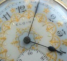 Stellar Gold Leaf Dial Antique 1921 Elgin Open Face 12 Size 17J Adj Pocket Watch