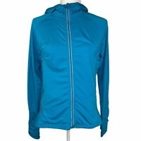 Athleta Blue Rouched Full Zip Hooded Track Jacket Women's Medium Thumb Holes