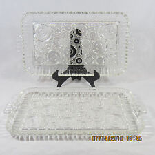 Hospitality Snack Sandwich Plates set 2 clear circles dots mod pattern no cups
