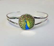 Peacock On A Silver Plated Bracelet Bangle Costume Jewellery Ladies Gift L107