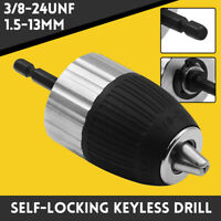 3/8-24 UNF Self-Locking Keyless 1.5-13mm Drill Chuck Converter w/ Hex