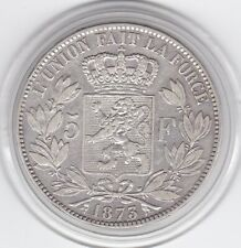 Belgium   1873   King   Leopold  II   Large  5 Franc -   Silver  (90%)  Coin
