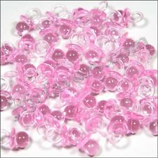 "144 Mini Pacifiers Baby Shower Favor 7/8"" Long embelishment - clear Pink"