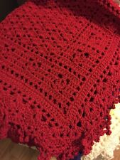 Crocheted Sweet Dreams Baby Blanket Christmas Red