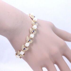 14k Yellow Gold Brushed Leaf Bracelet w/ Pearl & Sapphire Embellishments