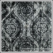 BonEful Fabric FQ Cotton Quilt Black White B&W Gray Retro Gothic Groovy L Damask