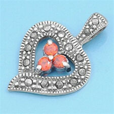 Heart Marcasite Pendant with CZ Sterling Silver 925 Vintage Style Jewelry