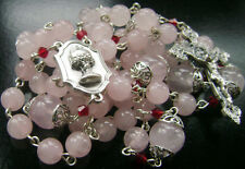 Pink Quartz Beads Rosary Italy Cross necklace box Sterling Silver Father Beads