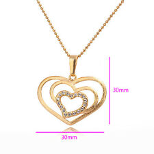 Elegant 18k 18ct yellow gold filled Crystal double heart pendant necklace N-A285