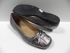 Chaussures GABOR argent FEMME taille 35.5 cuir mocassins shoes NEUF #618 98